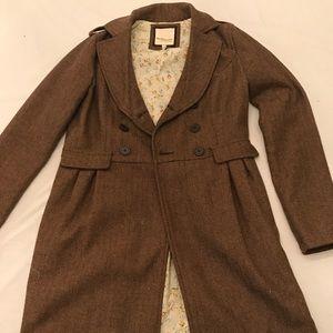 Brown Herringbone Pea Coat